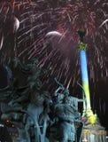 Feuerwerke und Denkmäler Stockfotos