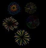 Feuerwerke und glückliches neues Jahr Stockbild