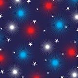 Feuerwerke und Sterne auf Blau Stockfoto