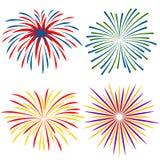 Feuerwerke von verschiedenen Arten auf weißem Hintergrund Lizenzfreies Stockbild