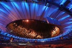 Feuerwerke während der Olympics-Eröffnungsfeier Rios 2016 Stockbild