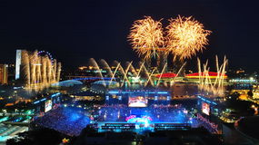 Feuerwerke während NDP 2010 Stockbild