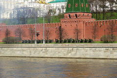 Feuerwerke. Wiederholung der Militärparade auf Rotem Platz Moskau Lizenzfreie Stockbilder