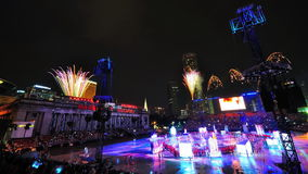 Feuerwerke zeigen während NDP 2010 an Lizenzfreies Stockbild