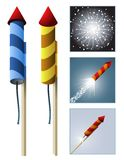Feuerwerkraketen mit Reihenfolge Stockbild