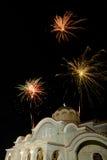 Feuerwerks-Partei an der Kirche - Pascha stockbild