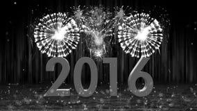 Feuerwerksexplosion zum Wannennocken mit 2016 Stadien FARBLOS vektor abbildung