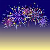Feuerwerksfeier und der Dämmerungshimmelhintergrund lizenzfreie abbildung