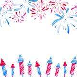 Feuerwerksfestival Feld Aquarellillustration für die Feiertage, 4. von Juli, vereinigt angegebener Unabhängigkeitstag Design für lizenzfreie abbildung