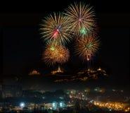 2015 Feuerwerksfestival, historischer Park Nakhon Khiri Phetchabur Lizenzfreies Stockfoto