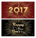 Feuerwerksgruß-Kartensatz 2017 des neuen Jahres Gold vektor abbildung