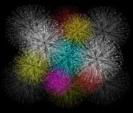 Feuerwerkshintergrund für guten Rutsch ins Neue Jahr Stockbild
