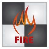 Feuerzeichen auf abstraktem Hintergrund Lizenzfreies Stockfoto