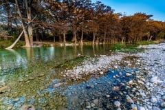 Feuillage d'automne sur la rivière clair comme de l'eau de roche de Frio dans le Texas images stock