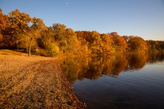 Feuillage d'automne sur le lac Image stock