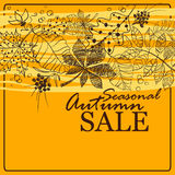 Feuillage d'Autumn Sale Background With Tree Photos stock