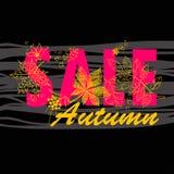 Feuillage d'Autumn Sale Background With Tree Photo libre de droits