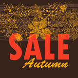 Feuillage d'Autumn Sale Background With Tree Photographie stock
