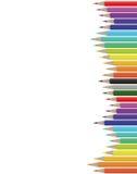 Feuille avec les crayons colorés Photographie stock libre de droits