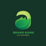 Feuille avec une lettre Logo Design Template Photographie stock libre de droits