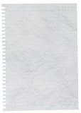 Feuille chiffonnée de papier rayé ou de papier de carnet Images libres de droits