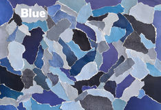 Feuille créative de collage de conseil d'humeur d'art de l'atmosphère en idée de couleur bleue, grise, blanc et denim faits de pa Images libres de droits