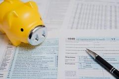 Feuille d'impôt des Etats-Unis 1040 image libre de droits