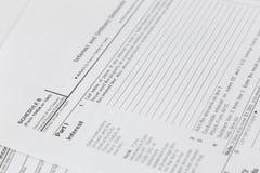 feuille d'impôt 1040 USA Photos libres de droits