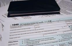 Feuille d'impôt d'IRS 1040 Images libres de droits