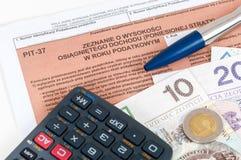 Feuille d'impôt individuelle polonaise PIT-37 Photo libre de droits