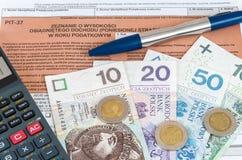Feuille d'impôt individuelle polonaise PIT-37 Photographie stock libre de droits
