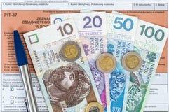Feuille d'impôt individuelle polonaise PIT-37 Image libre de droits