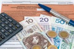 Feuille d'impôt individuelle polonaise PIT-37 Photos stock