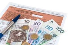 Feuille d'impôt individuelle polonaise PIT-37 Photos libres de droits