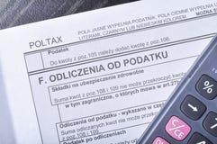 Feuille d'impôt polonaise photo stock
