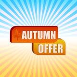 Feuille d'offre et de chute d'automne au-dessus des rayons Photos stock