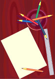 Feuille d'un papier et de crayons Images libres de droits