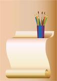 Feuille d'un papier et de crayons Photo libre de droits