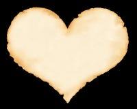 Feuille d'un vieux papier sous forme de coeur Image libre de droits