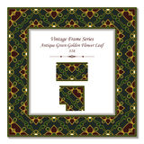 Feuille d'or verte antique de fleur du cadre 316 du vintage 3D Photo libre de droits