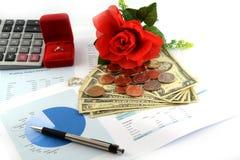 Feuille de budget de mariage Photos stock