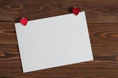 Feuille de Copyspace de papier avec le decorationsconcep de Noël de coeurs Photos libres de droits