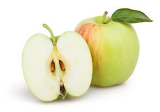 Feuille de coupe de pommes Image stock