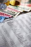Feuille de devises étrangères image stock