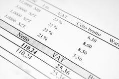 Feuille de facture avec des prix et l'impôt Image libre de droits