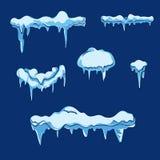 Feuille de glace avec le glaçon Vecteur réglé dans le style de bande dessinée illustration de vecteur