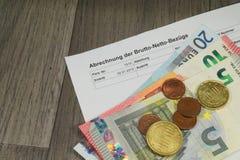Feuille de paie allemande Photos libres de droits