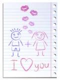 Feuille de papier de carnet avec l'empreinte de lèvres illustration stock