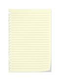 Feuille de papier de carnet d'école avec la page et l'ombre courbées Photographie stock