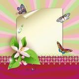 Feuille de papier et de fleurs Photos stock